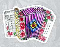 Accordion with pink roses