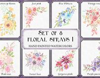 Set of 8 watercolor clip art sprays I