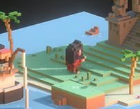 Sea temple island - voxel scene