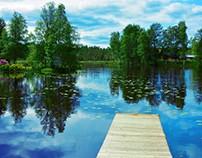 Liten sjö med näckrosor i Habo.