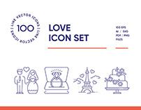 Wedding & Love Line Icon Set