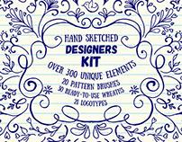Hand Sketched Floral Designer's Kit