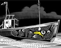 Comic strip against human trafficking.
