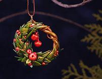 Christmas Tree Decoration of Polymer Clay, Handmade