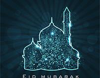 Vector glowing shiny mosque Eid Mubarak