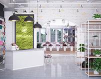 Интерьер цветочного магазина стиле лофт