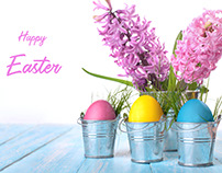 Easter eggs in metal bucket.Flower.Spring