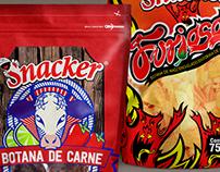 Diseños de empaques para Botanas de marca Snacker