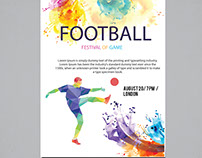 Colored-watercolor Football flyer Design