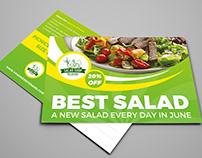 Salad Restaurant Postcard Template