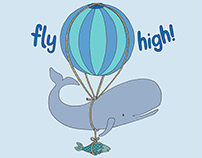Fly High Whale Kid's T-shirt and Greeting Card