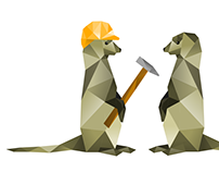 Two Meerkats sharing tools - Illustration