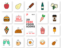 Free 20 Food Vector Icons Vol.1