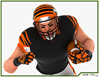 3D Model: White American Football Player HQ 006
