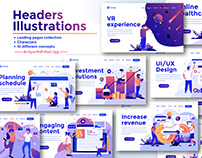 Landing page templates collection on various topics