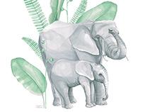 Elefantes /2019/ Lámina decorativa