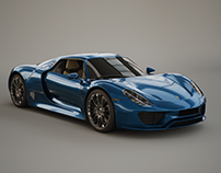 Porsche 918 Hipoly model