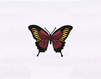 EXOTIC RED AND ORANGE BUTTERFLY EMBROIDERY DESIGN