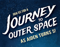 Journey to Outer Space Kids Birthday Invitation