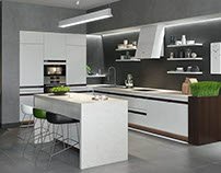 Modern Kitchen 3DDesign with Green accents.