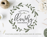 Flowery Logo Creator. Floral elements