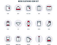 Mens clothing icon set