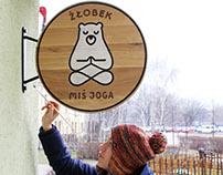 """Wooden signboard """"Miś Joga"""""""