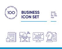 Modern Business Line Icon Set