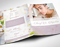 Blossoms Funeral Program Word Publisher large Template