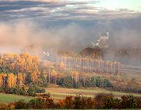 Misty autumn. Castle. Jura. Poland.