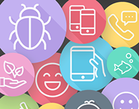 1850 Flat Line Icons - iOS9, Android, Web Flat Icons
