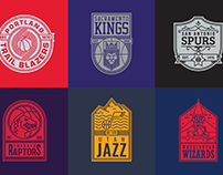 NBA logos redesigned as badges