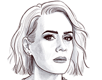 Sarah Paulson - pencil portrait