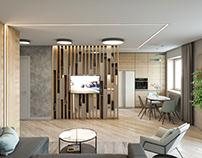 Дизайн гостиной 33 м2 для семьи г. Екатеринбург