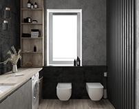 Dark large bathroom