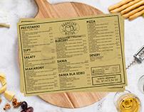 Food Menu Designfor Italy restaurant