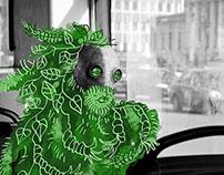 green man in city