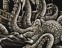 Prayer for the Seafarer scratchboard illustration