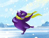 Purple penguin character