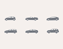 Cars. Icon set.