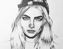Cara Delevingne Portrait (only fineliner dots used)