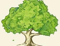 Tree and the Oak Leaf. Vector Illustration