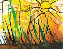 Sol radiante con cielo enardecido