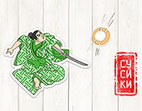 Визуальная концепция бренда сушек в японском стиле