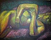 Oil Pastel Painting Sleeping Man
