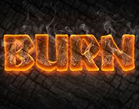 Burn Text Style Freebie PSD