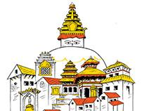Illustration for T-shirt : Kathmandu