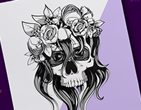 Dead Bride Skull Illustration
