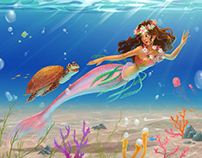 Cartoon illustrations of mermaids