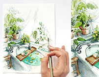 Watercolor and ink: interior illustrations